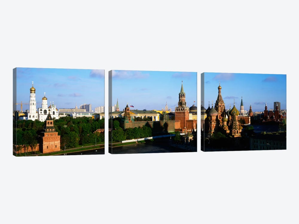 High-Angle View Of Red Square, Moscow, Russian Federation by Panoramic Images 3-piece Canvas Art Print