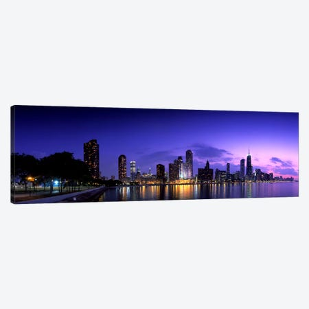 Night Skyline Chicago IL USA Canvas Print #PIM1646} by Panoramic Images Canvas Wall Art