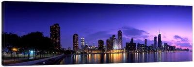 Night Skyline Chicago IL USA Canvas Art Print