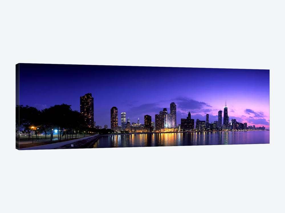 Night Skyline Chicago IL USA by Panoramic Images 1-piece Canvas Artwork
