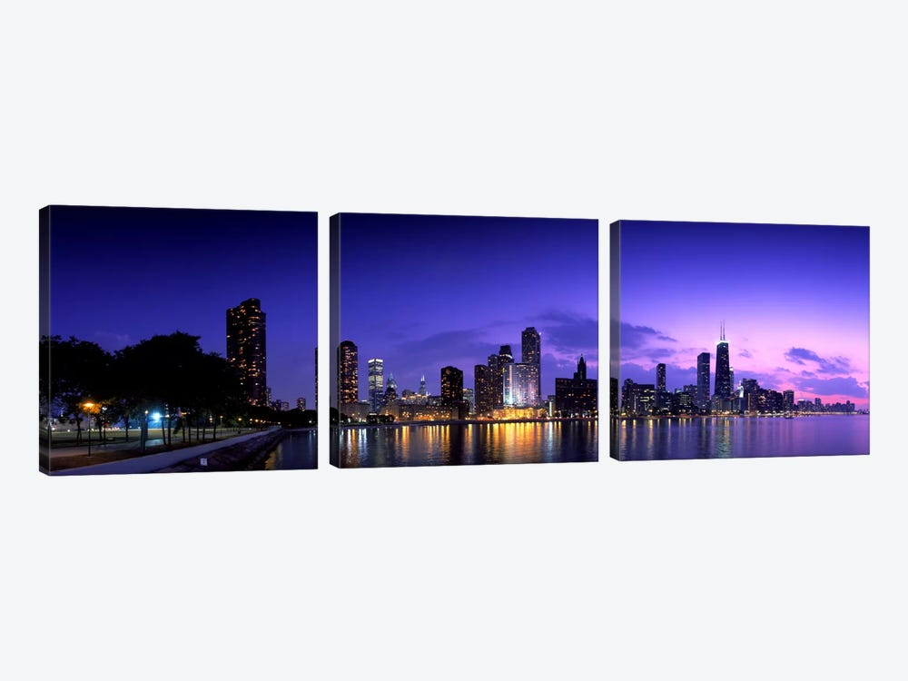 Night Skyline Chicago IL USA by Panoramic Images 3-piece Canvas Wall Art