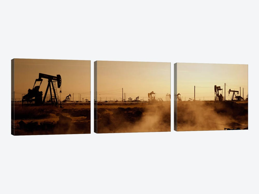 Oil Derrick, South Belridge Oil Field, Kern County, California, USA by Panoramic Images 3-piece Canvas Art Print