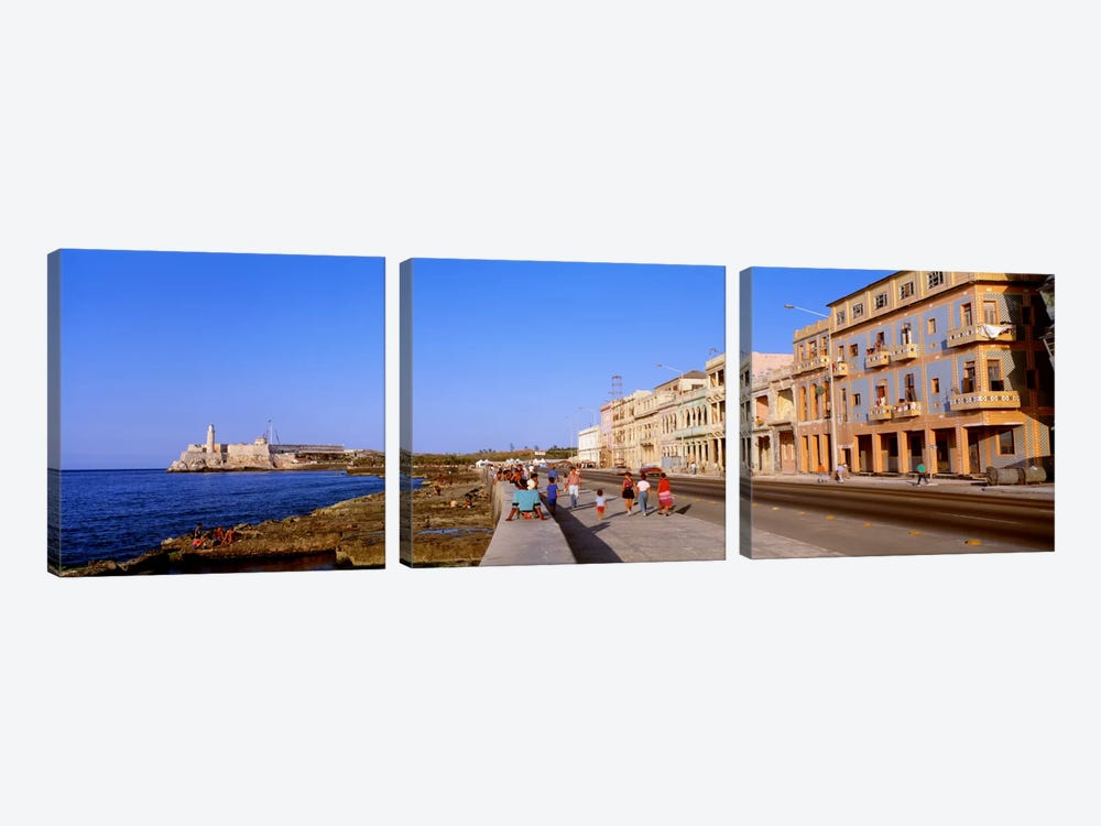 Malecon View, La Habana Vieja, Havana, Cuba by Panoramic Images 3-piece Canvas Print