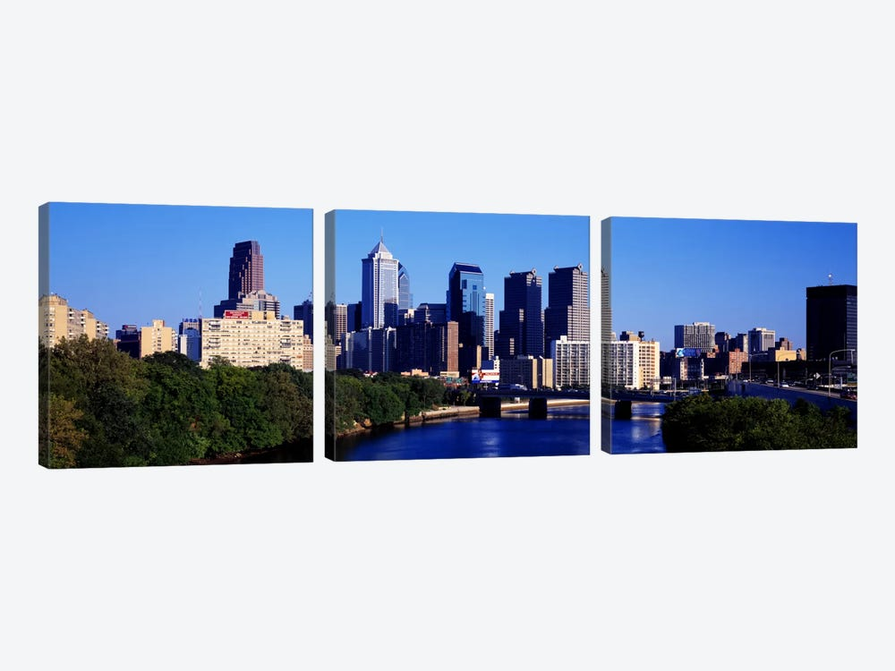 Delaware River, Philadelphia, Pennsylvania, USA by Panoramic Images 3-piece Canvas Print