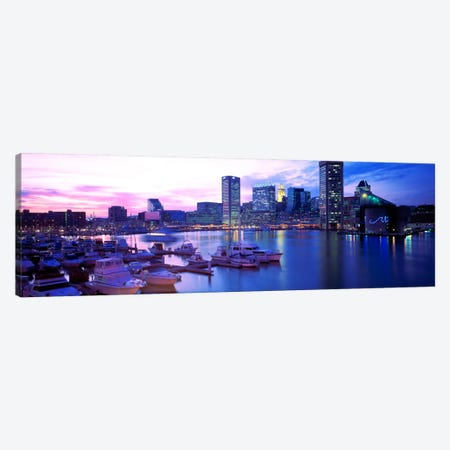 SunsetInner Harbor, Baltimore, Maryland, USA Canvas Print #PIM1658} by Panoramic Images Canvas Wall Art