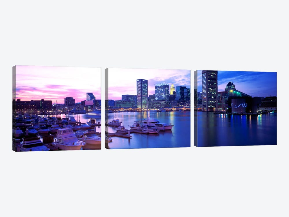 SunsetInner Harbor, Baltimore, Maryland, USA by Panoramic Images 3-piece Art Print