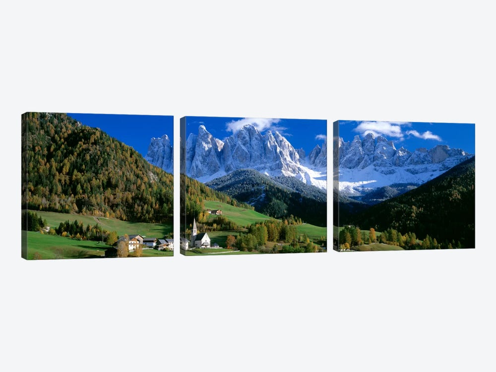 Church Of St. Magdalena, Val di Funes, South Tyrol Province, Trentino-Alto Adige Region, Italy by Panoramic Images 3-piece Canvas Wall Art