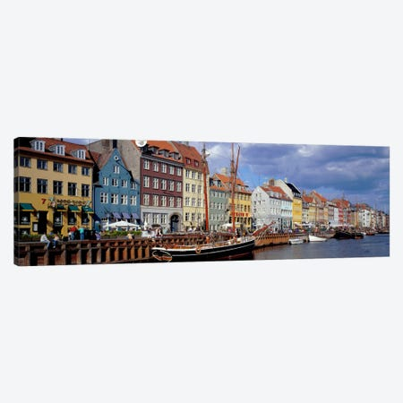 Brightly Colored Waterfront Townhouses, Nyhavn, Copenhagen, Denmark Canvas Print #PIM165} by Panoramic Images Canvas Artwork