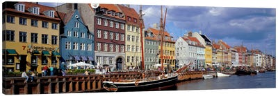 Brightly Colored Waterfront Townhouses, Nyhavn, Copenhagen, Denmark Canvas Art Print