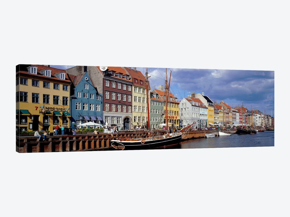 Brightly Colored Waterfront Townhouses, Nyhavn, Copenhagen, Denmark by Panoramic Images 1-piece Canvas Art