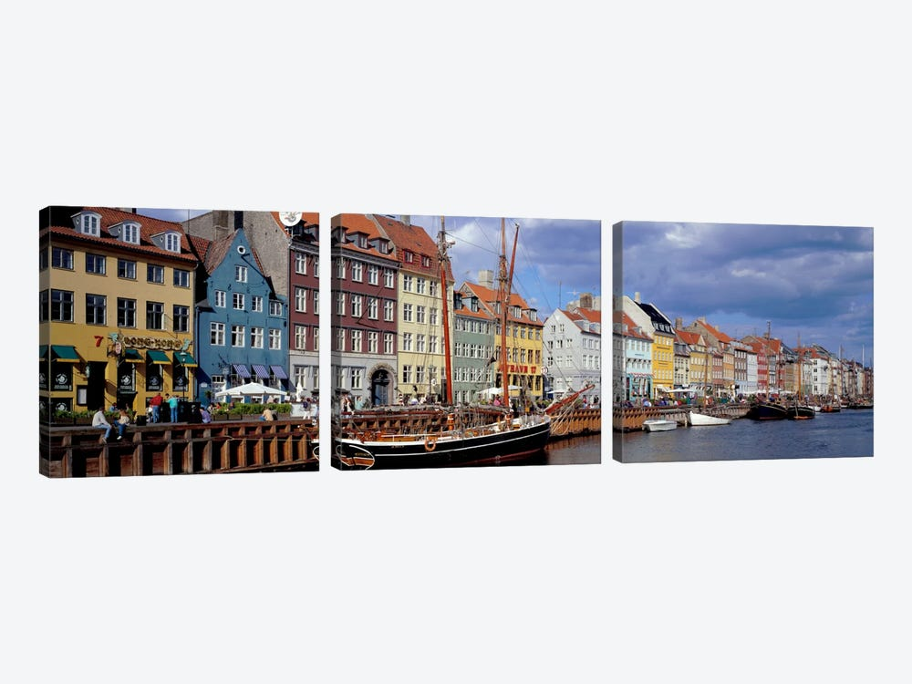 Brightly Colored Waterfront Townhouses, Nyhavn, Copenhagen, Denmark 3-piece Canvas Artwork