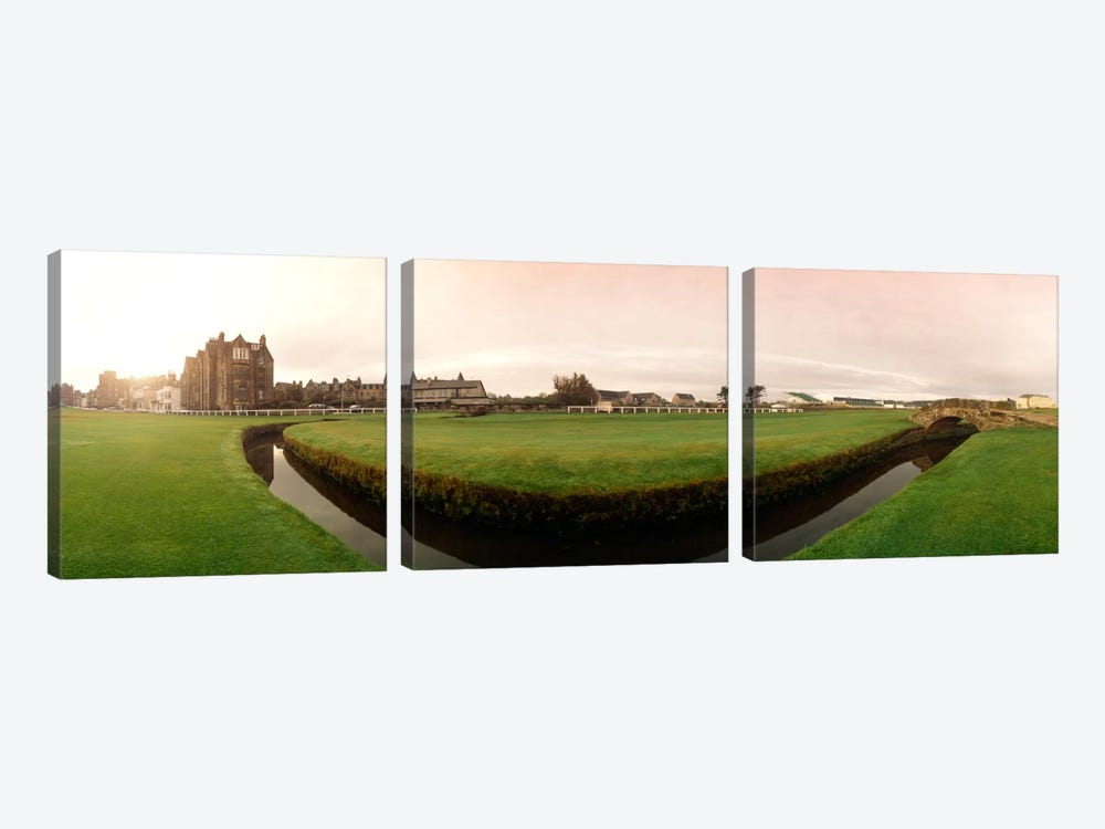 Ground Level View Of Swilcan Bridge & Burn, Old Course, The Royal And Ancient Golf Club Of St. Andrews, Fife, Scotland by Panoramic Images 3-piece Canvas Art Print
