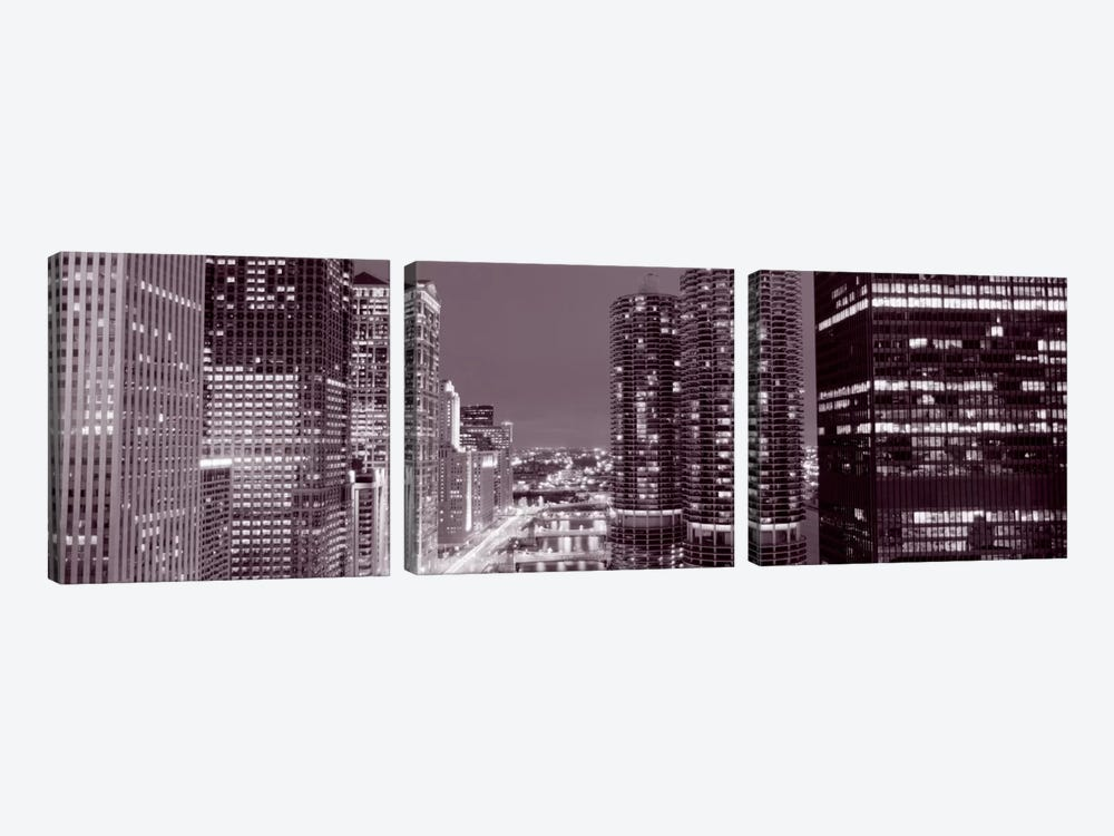 Wacker Drive, River, Chicago, Illinois, USA by Panoramic Images 3-piece Canvas Wall Art