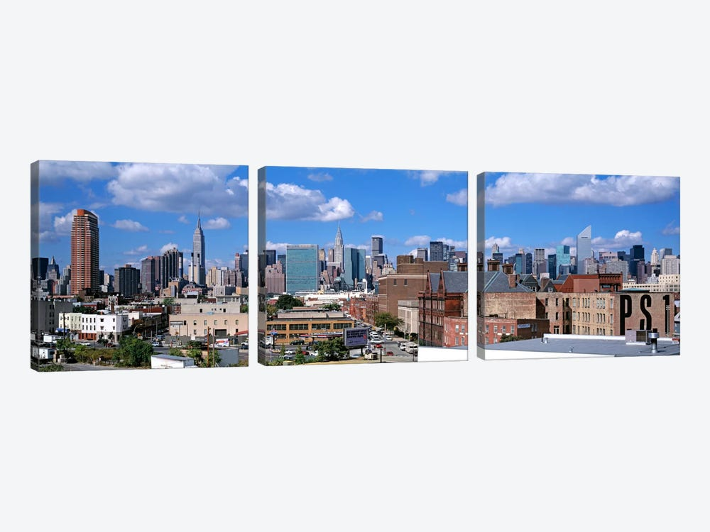 Aerial View Of An Urban City, Queens, NYC, New York City, New York State, USA by Panoramic Images 3-piece Canvas Art