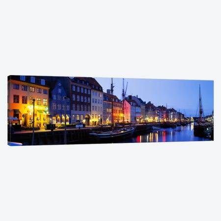 Waterfront Townhouses, Nyhavn, Copenhagen, Denmark Canvas Print #PIM166} by Panoramic Images Canvas Artwork