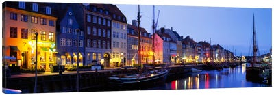 Waterfront Townhouses, Nyhavn, Copenhagen, Denmark Canvas Art Print