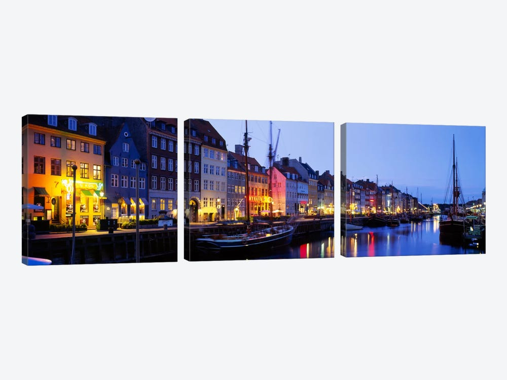 Waterfront Townhouses, Nyhavn, Copenhagen, Denmark by Panoramic Images 3-piece Art Print