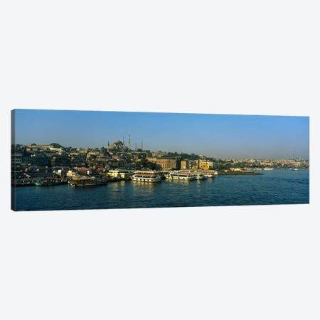 Boats moored at a harborIstanbul, Turkey Canvas Print #PIM1674} by Panoramic Images Canvas Print