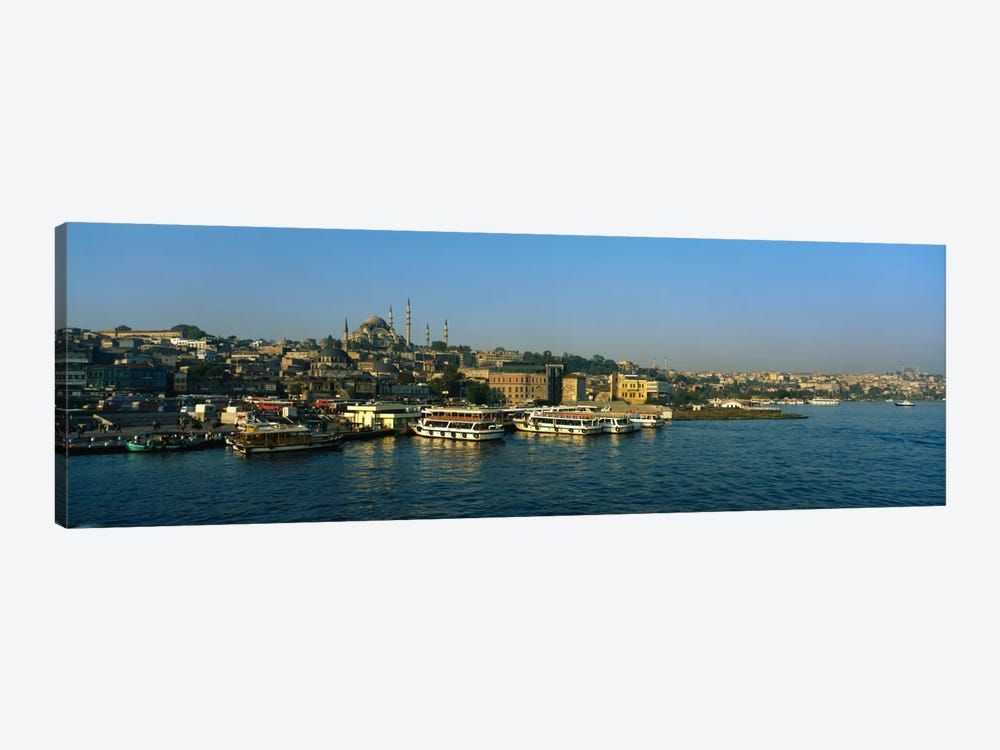 Boats moored at a harborIstanbul, Turkey by Panoramic Images 1-piece Canvas Print