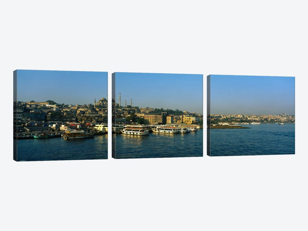 Boats moored at a harborIstanbul, Turkey by Panoramic Images 3-piece Canvas Print