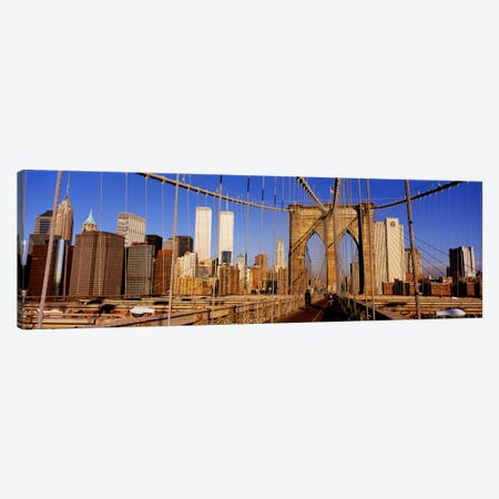 Brooklyn Bridge Manhattan New York NY USA 3-Piece Canvas #PIM1677} by Panoramic Images Art Print