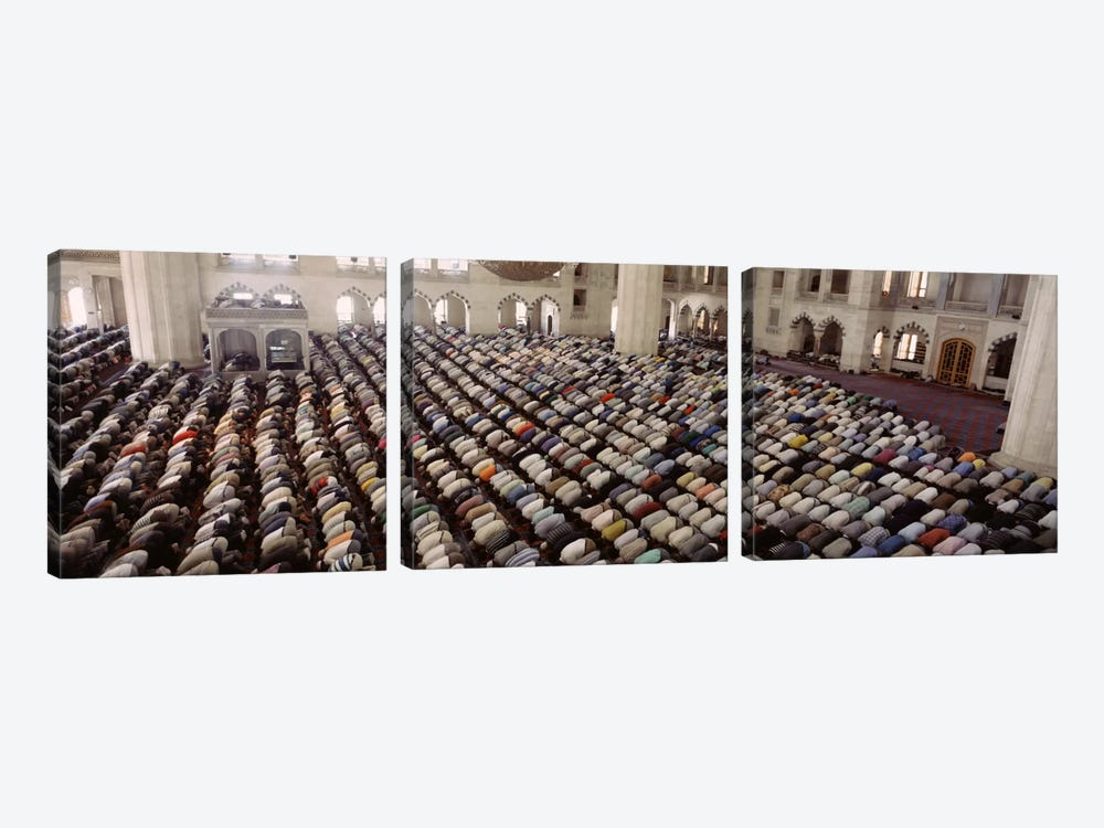 Turkey, Edirne, Friday Noon Prayer at Selimiye Mosque by Panoramic Images 3-piece Canvas Wall Art