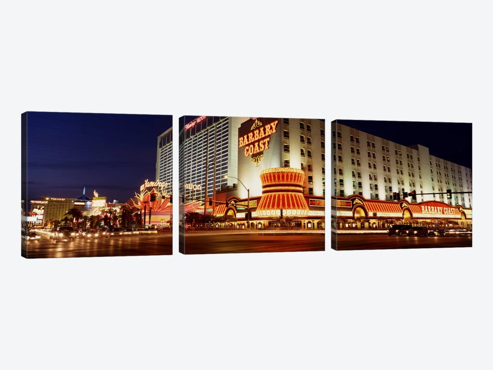USA, Nevada, Las Vegas, Buildings lit up at night by Panoramic Images 3-piece Art Print