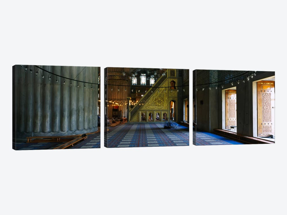 Interiors of a mosqueBlue Mosque, Istanbul, Turkey by Panoramic Images 3-piece Canvas Artwork