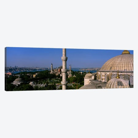 High-Angle View Of Ayasofia Camii (Hagia Sophia) & Sultan Ahmet Camii (Blue Mosque), Istanbul, Turkey Canvas Print #PIM1694} by Panoramic Images Art Print