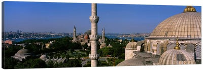 High angle view of a mosqueSt. Sophia, Hagia Sophia, Mosque of Sultan Ahmet I, Blue Mosque, Sultanahmet District, Istanbul, Turkey Canvas Print #PIM1694