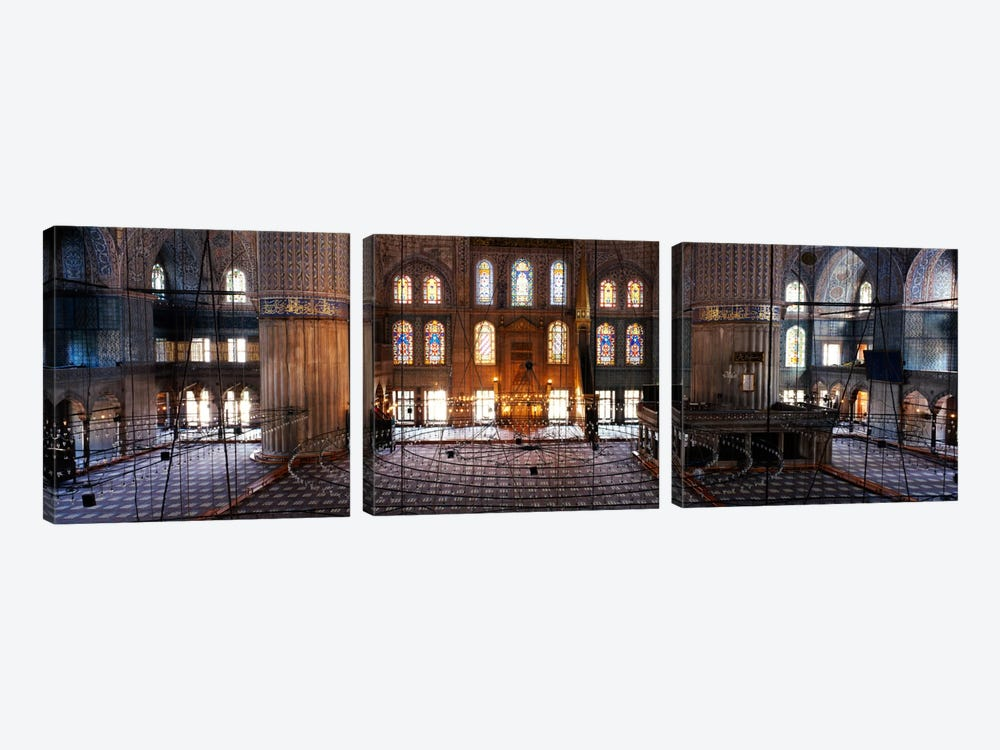 Interiors of a mosqueBlue Mosque, Istanbul, Turkey by Panoramic Images 3-piece Canvas Wall Art