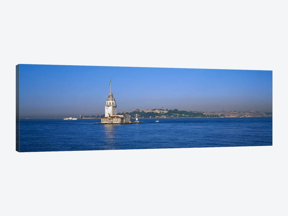 Lighthouse in the sea with mosque in the backgroundLeander's Tower, Blue Mosque, Istanbul, Turkey by Panoramic Images 1-piece Art Print