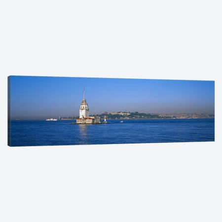 Lighthouse in the sea with mosque in the backgroundLeander's Tower, Blue Mosque, Istanbul, Turkey Canvas Print #PIM1696} by Panoramic Images Canvas Print