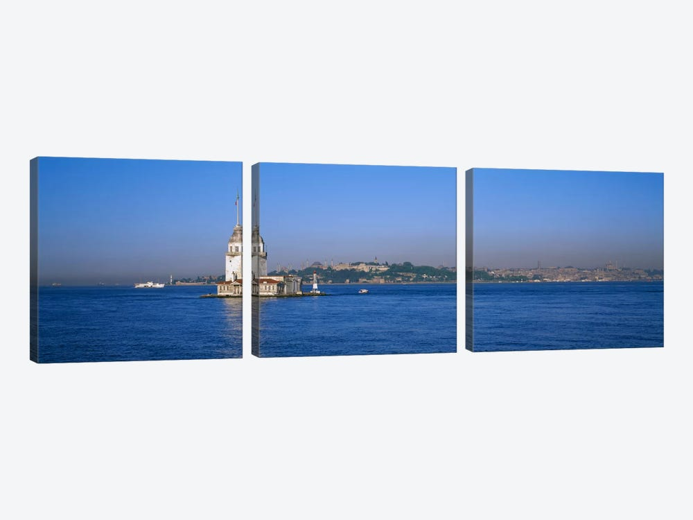 Lighthouse in the sea with mosque in the backgroundLeander's Tower, Blue Mosque, Istanbul, Turkey by Panoramic Images 3-piece Canvas Print