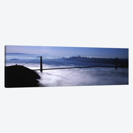 USACalifornia, San Francisco, Fog over Golden Gate Bridge Canvas Print #PIM1698} by Panoramic Images Canvas Artwork