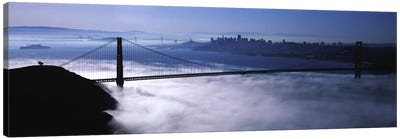 USACalifornia, San Francisco, Fog over Golden Gate Bridge Canvas Art Print