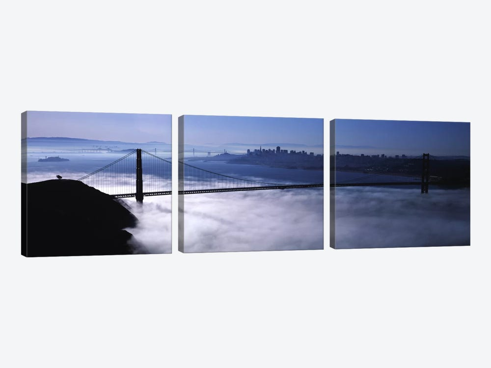 USACalifornia, San Francisco, Fog over Golden Gate Bridge by Panoramic Images 3-piece Art Print
