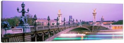 Blurred Motion Lights Under Pont Alexandre III, Paris, Ile-de-France, France Canvas Print #PIM169