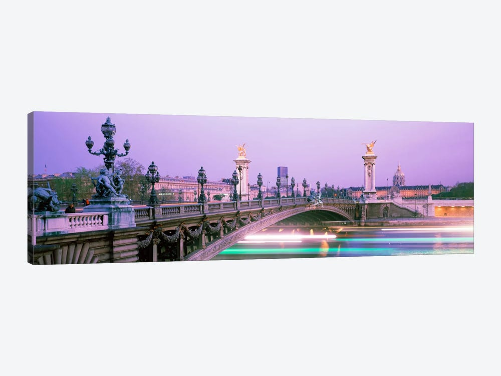 Blurred Motion Lights Under Pont Alexandre III, Paris, Ile-de-France, France 1-piece Canvas Artwork