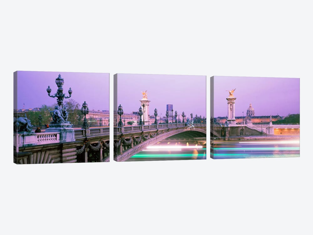 Blurred Motion Lights Under Pont Alexandre III, Paris, Ile-de-France, France 3-piece Canvas Wall Art