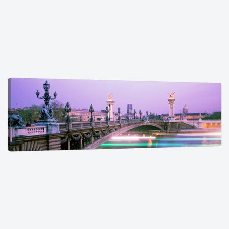 Blurred Motion Lights Under Pont Alexandre III, Paris, Ile-de-France, France Canvas Print #PIM169} by Panoramic Images Art Print