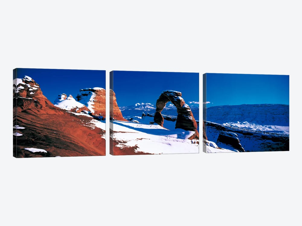 Delicate Arch In Winter, Arches National Park, Utah, USA by Panoramic Images 3-piece Canvas Art Print