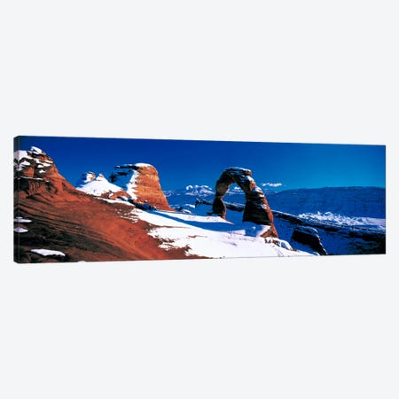 Delicate Arch In Winter, Arches National Park, Utah, USA 3-Piece Canvas #PIM16} by Panoramic Images Canvas Wall Art