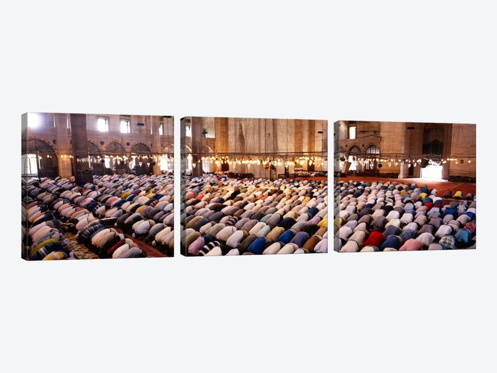 Crowd praying in a mosque, Suleymanie Mosque, Istanbul, Turkey by Panoramic Images 3-piece Canvas Art Print