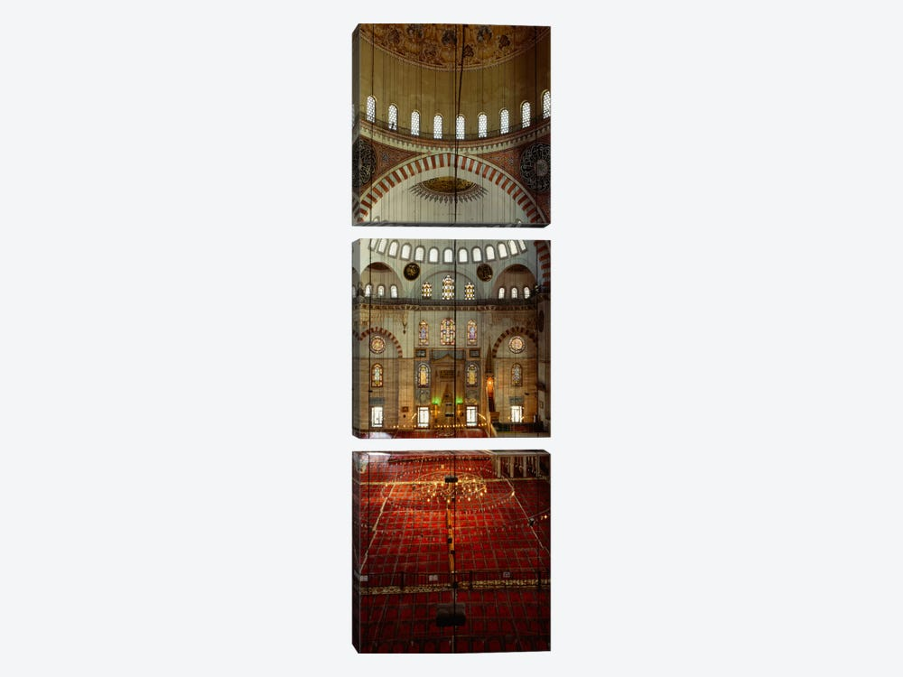 Interiors of a mosque, Suleymanie Mosque, Istanbul, Turkey by Panoramic Images 3-piece Canvas Wall Art
