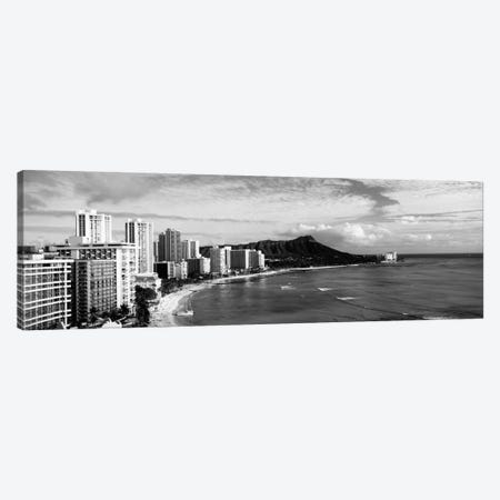 Buildings at the coastline with a volcanic mountain in the background, Diamond Head, Waikiki, Oahu, Honolulu, Hawaii, USA #2 Canvas Print #PIM1707} by Panoramic Images Art Print