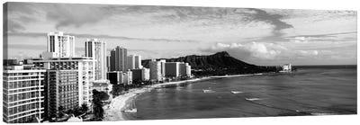 Buildings at the coastline with a volcanic mountain in the background, Diamond Head, Waikiki, Oahu, Honolulu, Hawaii, USA #2 Canvas Art Print