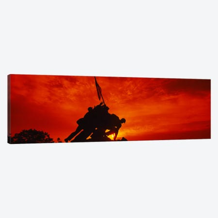 Silhouette of statues at a war memorial, Iwo Jima Memorial, Arlington National Cemetery, Virginia, USA Canvas Print #PIM1711} by Panoramic Images Canvas Print