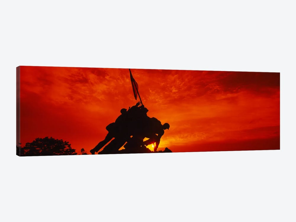 Silhouette of statues at a war memorial, Iwo Jima Memorial, Arlington National Cemetery, Virginia, USA by Panoramic Images 1-piece Canvas Art Print