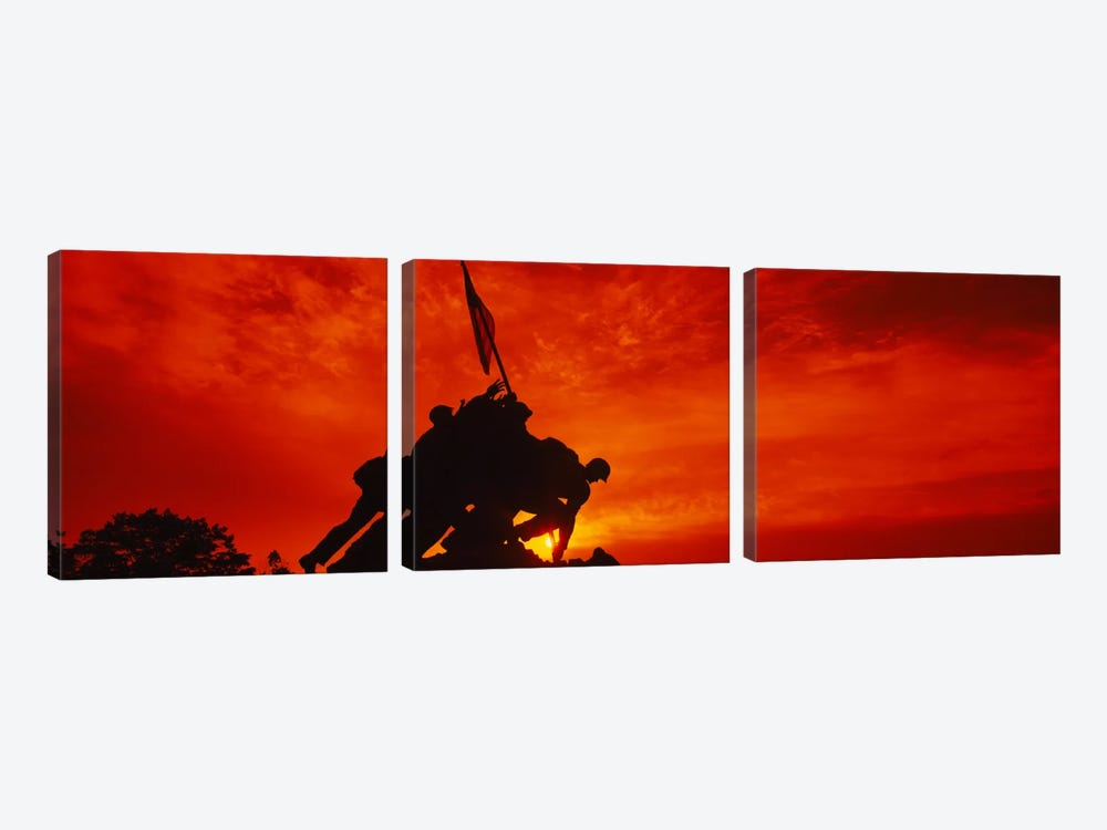 Silhouette of statues at a war memorial, Iwo Jima Memorial, Arlington National Cemetery, Virginia, USA by Panoramic Images 3-piece Canvas Print